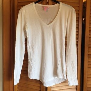 Lilly Pulitzer white cotton long sleeve v neck top